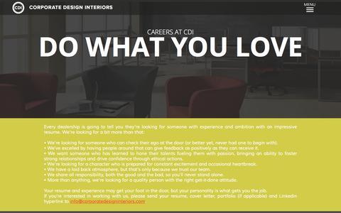 Screenshot of Jobs Page corporatedesigninteriors.com - Careers - captured Jan. 22, 2016