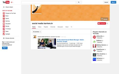 Screenshot of YouTube Page youtube.com - social media karriere.tv  - YouTube - captured Oct. 22, 2014