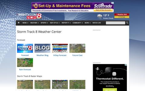 Screenshot of Maps & Directions Page wishtv.com - Weather Maps | Storm Track 8 | WISH-TV - captured Jan. 11, 2016