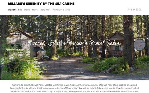 Screenshot of Home Page serenitybytheseacabins.com - Millane's Serenity by the Sea Cabins - captured Aug. 2, 2015
