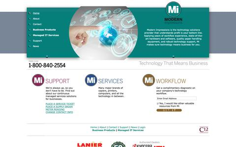 Screenshot of Home Page modernimpressions.com - Charlotte Business Products - Charlotte Managed IT Services - Greensboro Business Products - Greensboro Managed IT Services - captured Nov. 7, 2018