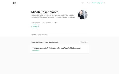Micah Rosenbloom – Medium