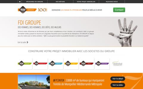 Screenshot of Home Page fdi.fr - Donnons un visage à l'immobilier pour le siècle à venir | FDI Groupe - Promoteur immobilier - captured Oct. 16, 2015