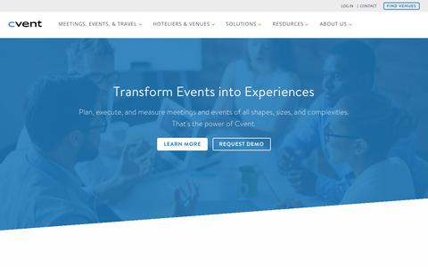 Screenshot of Home Page cvent.com - Event Management Software & Hospitality Solutions | Cvent - captured May 16, 2018