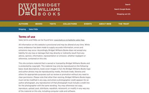Screenshot of Terms Page bwb.co.nz - Terms of use | BWB Bridget Williams Books - captured Oct. 6, 2018