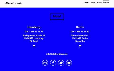 Screenshot of Contact Page atelierdisko.de - Kontakt – Atelier Disko - captured July 26, 2016