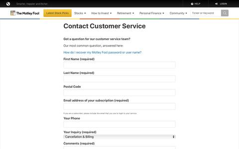 Screenshot of Contact Page Support Page fool.com - Contact Customer Service - captured July 27, 2019