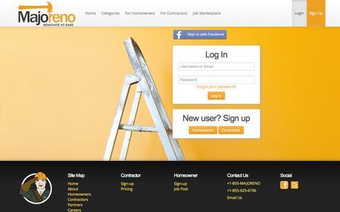 Screenshot of Login Page majoreno.com - Login | MAJORENO - captured Oct. 23, 2014