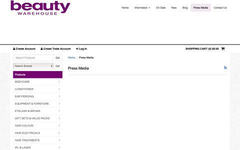 Screenshot of Press Page beautywarehouse.com.au - Press Media - Beauty Warehouse - captured Nov. 4, 2018