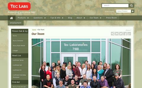 Screenshot of Team Page teclabsinc.com - Our Team                 Tec Labs - captured Nov. 29, 2016
