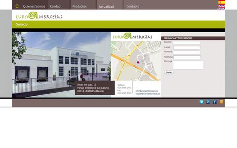 Screenshot of Contact Page euroambrosias.es - Contacto | EuroAmbrosias - captured Sept. 30, 2014
