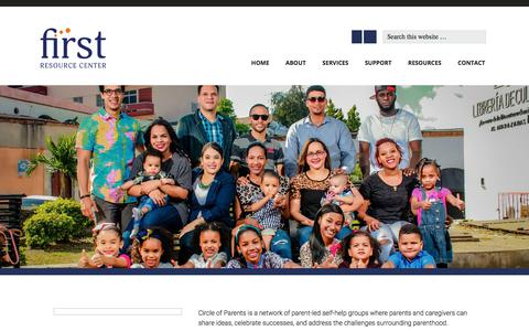 Screenshot of Services Page firstwnc.org - Circle of Parents - captured Oct. 5, 2017