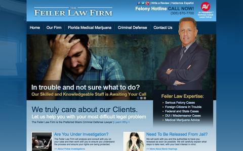 Screenshot of Home Page jeffreyfeiler.com - Miami Criminal Defense Lawyer, Criminal Defense Lawyer Miami Florida - captured Oct. 6, 2014