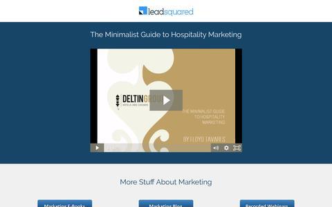 Screenshot of Landing Page leadsquared.com - Webinar Recording – The Minimalist Guide to Hospitality Marketing - captured Jan. 3, 2017