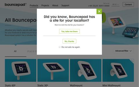 Screenshot of Products Page bouncepad.com - Products | Bouncepad tablet and iPad kiosks - captured Sept. 22, 2014