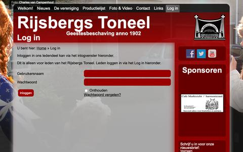 Screenshot of Login Page rijsbergstoneel.nl - Log in - Rijsbergs Toneel - captured Oct. 20, 2018