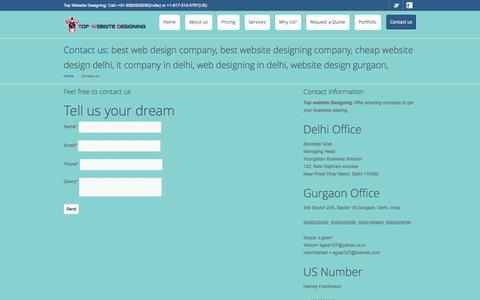 Screenshot of Contact Page topwebsitedesigning.com - top website designing companies contact - captured Oct. 1, 2014