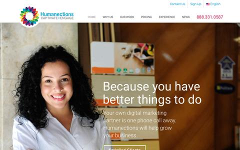 Screenshot of Home Page humanections.com - Website Design & Internet Marketing in Los Angeles - captured Sept. 17, 2015