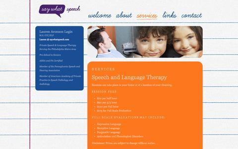 Screenshot of Services Page saywhatspeech.com - Say What Speech - Lauren Aronson Lagin M.S. CCC/SLP - captured Sept. 30, 2014
