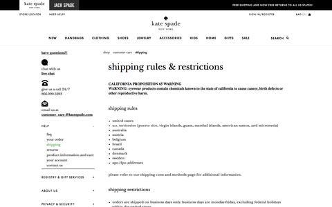 Screenshot of katespade.com - shipping - captured Aug. 25, 2017