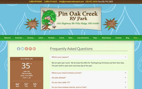 Screenshot of FAQ Page pinoakcreekrvpark.com - Frequently Asked Questions | Pin Oak Creek RV Park - captured Sept. 28, 2018