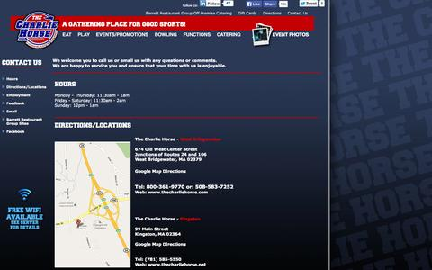 Screenshot of Contact Page Locations Page thecharliehorse.com - Welcome to The Charlie Horse in West Bridgewater - captured Oct. 7, 2014