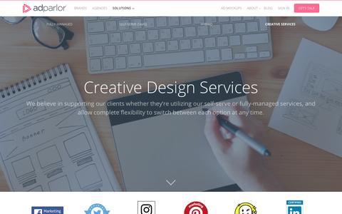 Screenshot of adparlor.com - Creative Services | AdParlor - captured May 21, 2017