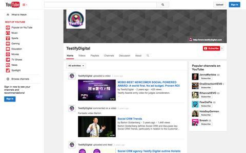 Screenshot of YouTube Page youtube.com - TestifyDigital  - YouTube - captured Oct. 26, 2014