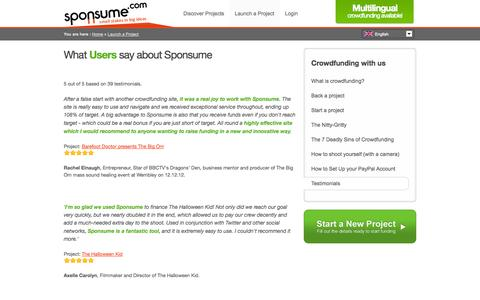Screenshot of Testimonials Page sponsume.com - Testimonials & Reviews - What People Say About Us | Sponsume - captured Sept. 23, 2014