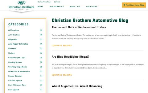 Screenshot of Blog cbac.com - Our Blog | Christian Brothers Automotive - captured March 10, 2018