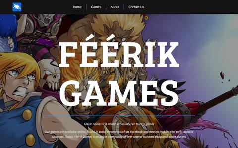 Screenshot of Home Page feerik.com - Féérik Games - captured Oct. 1, 2015