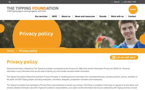 Screenshot of Privacy Page tipping.org.au - Privacy policy | The Tipping Foundation - captured July 7, 2017