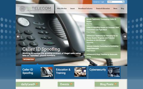 Screenshot of Home Page ustelecom.org - USTelecom - captured Sept. 19, 2014