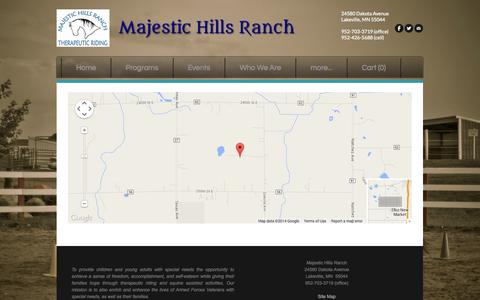 Screenshot of Maps & Directions Page majestichillsranch.org - Map - Majestic Hills Ranch - captured Oct. 4, 2014