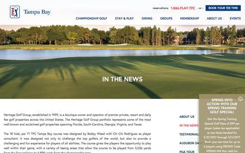 Screenshot of Press Page tpctampabay.com - Heritage Golf Group News | TPC Tampa Bay - captured Feb. 27, 2017