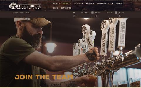 Screenshot of Jobs Page publichousebrewery.com - Careers – Public House Brewing Company - captured Sept. 30, 2018
