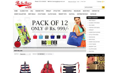 Screenshot of Home Page beforbag.co.in - Handbags Online | Buy Ladies Handbags Online | Canvas Bags | Disney Bags | Duffle Bags - BeforBag - captured Sept. 23, 2014