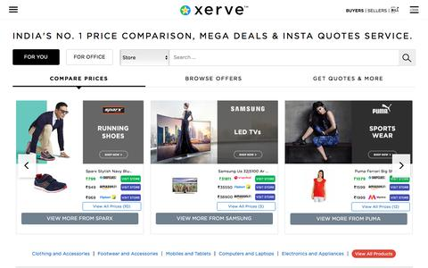Screenshot of Home Page xerve.in - Xerve.in : India's No. 1 B2C & B2B Best-Buys Finder | Helps You Save Big - captured Dec. 27, 2016