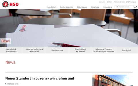 Screenshot of Press Page hso.ch - News | HSO Wirtschaftsschule Schweiz - captured Nov. 9, 2018