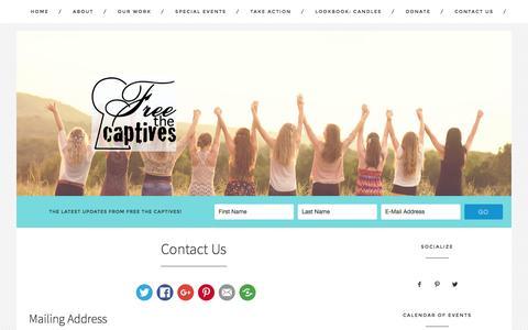 Screenshot of Contact Page freethecaptiveshouston.com - Contact Us - Free The Captives Houston - captured Jan. 24, 2016