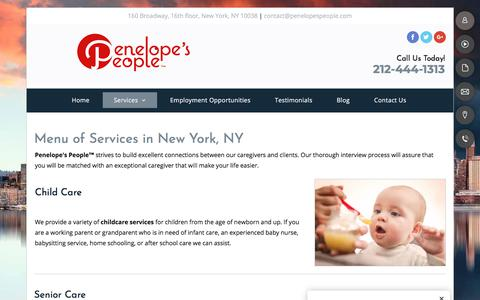 Screenshot of Services Page penelopespeople.com - Placement Agency - New York, NY - Penelope's People™ - captured July 16, 2018