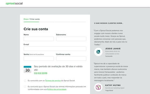 Screenshot of Trial Page sproutsocial.com - Sprout Social | Sign Up Step 1 - captured Jan. 3, 2019