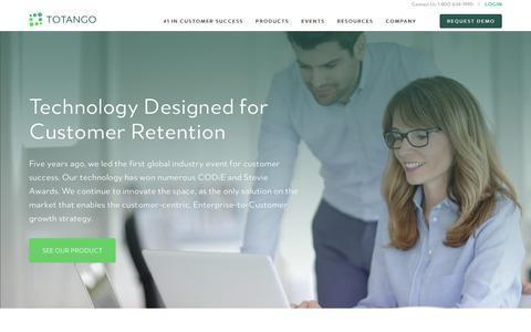 Screenshot of totango.com - Why Totango | Boost Customer Retention with Our Award-Winning Software - captured July 23, 2017