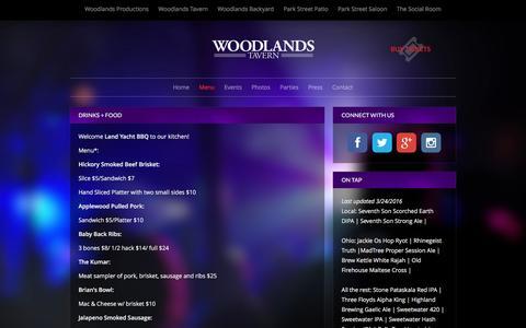 Screenshot of Menu Page woodlandstavern.com - Drinks + Food | Woodlands Tavern - captured April 1, 2016