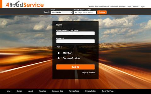Screenshot of Login Page 4roadservice.com - Log In to 4 Road Service - captured Oct. 20, 2015