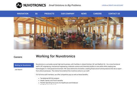 Screenshot of Jobs Page nuvotronics.com - Nuvotronics -  Working at Nuvotronics - captured Nov. 4, 2018
