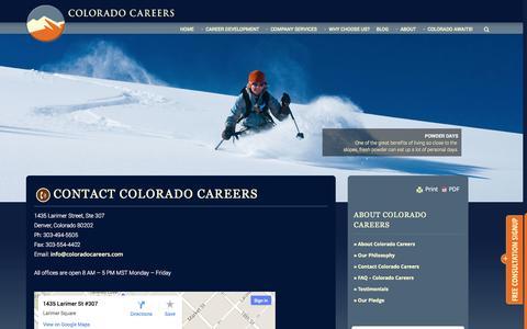 Screenshot of Contact Page coloradocareers.com - Contact Colorado Careers » - captured Sept. 30, 2014