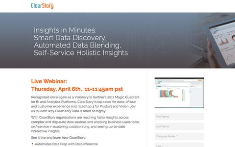 Screenshot of Landing Page clearstorydata.com - ClearStory Data - captured April 10, 2017