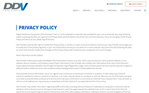 Screenshot of Privacy Page ddvc.com - Privacy Policy | Contact Center Consulting, IVR, CTI | Digital DataVoice - captured Nov. 24, 2016