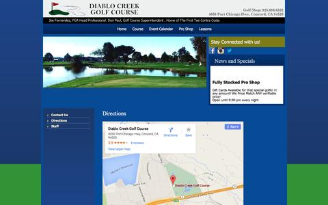 Screenshot of Maps & Directions Page diablocreekgc.com - Directions - captured March 2, 2016